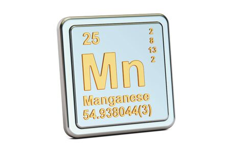 atomic symbol: Manganese Mn, chemical element sign. 3D rendering isolated on white background Stock Photo