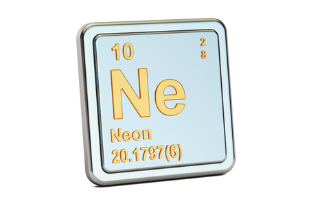 ne: Neon Ne, chemical element sign. 3D rendering isolated on white background
