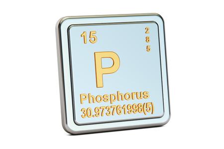 white phosphorus: Phosphorus P, chemical element sign. 3D rendering isolated on white background Stock Photo