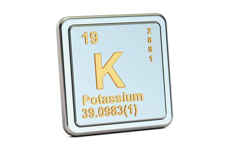 alkali metal: Potassium, K chemical element sign. 3D rendering isolated on white background Stock Photo