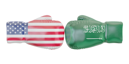 Boxing gloves with USA and Saudi Arabia flags. Governments conflict concept, 3D rendering Stock Photo