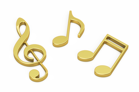 Golden Music Notes, 3D rendering isolated on white background Imagens