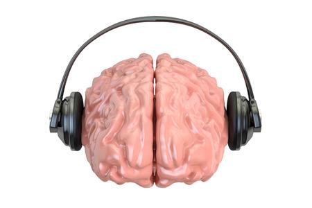 cognicion: Auriculares con cerebro, representación 3D aislada en el fondo blanco