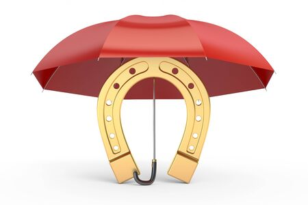 iron horse: horseshoe with umbrella, protect your luck. 3D rendering isolated on white background