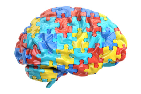 Autism concept with brain, 3D rendering isolated on white background