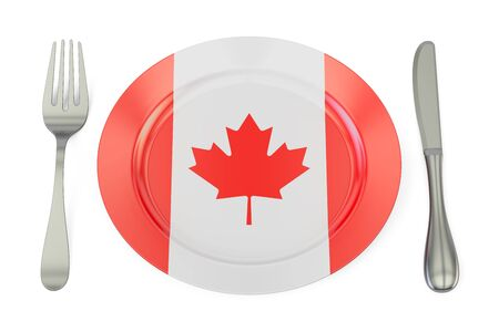 canadian flag: Canadian cuisine concept, plate with flag of Canada. 3D rendering