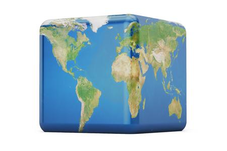 立方地球概念、3 D レンダリング 写真素材 - 74082007