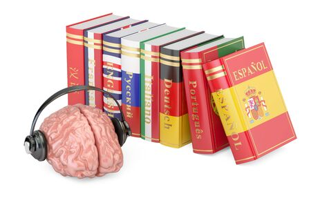 Headphones with brain and books, languages learning and translate concept. 3D rendering