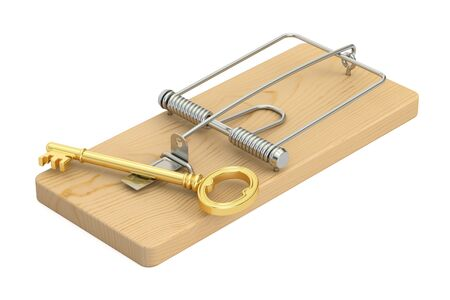mousetrap with key, 3D rendering isolated on white background Stock Photo
