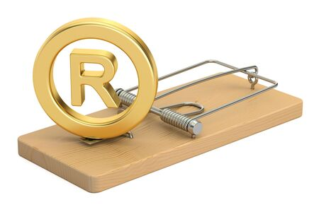 Mousetrap with registered trademark symbol, 3D rendering