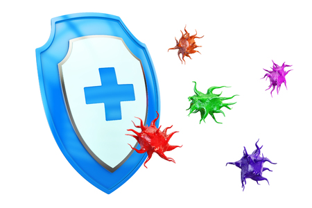 Antibacterial or anti virus shield, health protect concept. 3D rendering