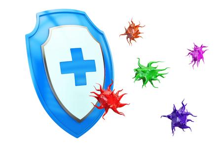 Antibacterieel of anti-virus schild, gezondheidsbeschermend concept. 3D-weergave Stockfoto