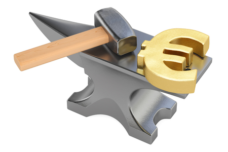 incus: anvil with gold euro symbol, 3D rendering isolated on white background Stock Photo