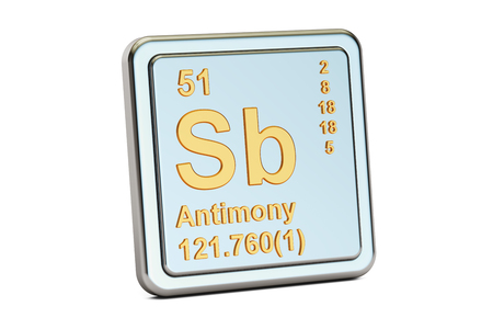 Antimony chemical element of the periodic table with symbol sb stock antimony sb stibium chemical element sign 3d rendering isolated on white background photo urtaz Image collections