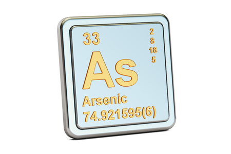 arsenic: Arsenic As, chemical element sign. 3D rendering isolated on white background