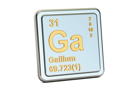 atomic symbol: Gallium Ga, chemical element sign. 3D rendering isolated on white background Stock Photo
