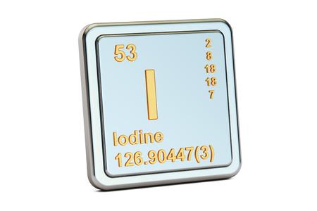 iodine: Iodine I stibium, chemical  element sign. 3D rendering isolated on white background