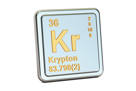 Krypton Kr, chemical element sign. 3D rendering isolated on white background