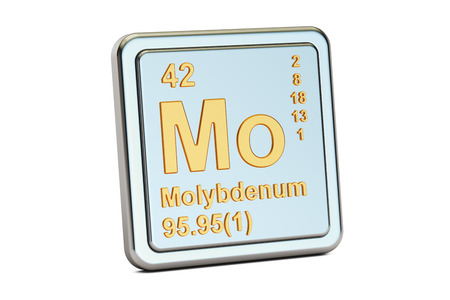 atomic symbol: Molybdenum Mo chemical element sign. 3D rendering isolated on white background Stock Photo