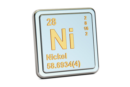 atomic symbol: Nickel Ni, chemical element sign. 3D rendering isolated on white background