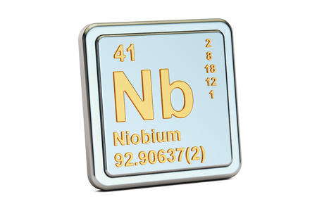nb: Niobium Nb, chemical element sign. 3D rendering isolated on white background