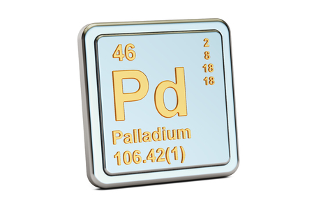 atomic symbol: Palladium Pd chemical element sign. 3D rendering isolated on white background