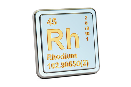 Rhodium Rh chemical element sign. 3D rendering isolated on white background