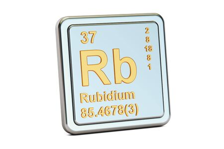 alkali metal: Rubidium Rb, chemical element sign. 3D rendering isolated on white background