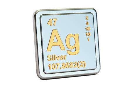 argentum: Silver Ag chemical element sign. 3D rendering isolated on white background