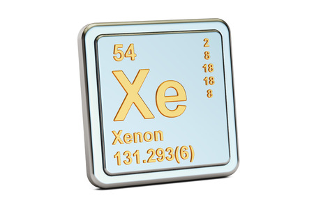Xenon xe, chemical element sign. 3D rendering isolated on white background