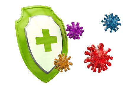 Escudo antibacteriano o antivirus, concepto de atención médica. Representación 3D