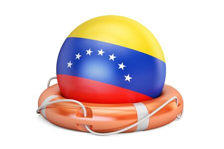 Lifebelt with Venezuela flag, safe, help and protect concept. 3D rendering