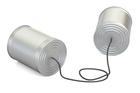 speakers: Tin cans telephone, 3D rendering isolated on white background