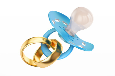 Wedding gold ring and pacifier, parenthood and family concept. 3D rendering Stock Photo