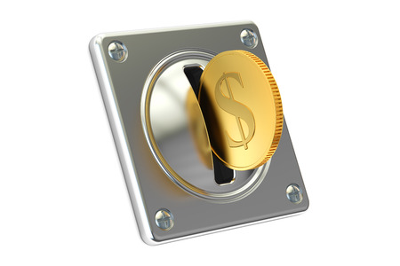 Coin Acceptor with golden coin, 3D rendering isolated on white background Stock Photo