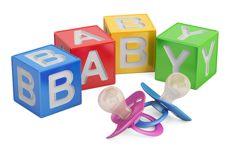 education for baby concept, kid cubes with pacifiers. 3D rendering