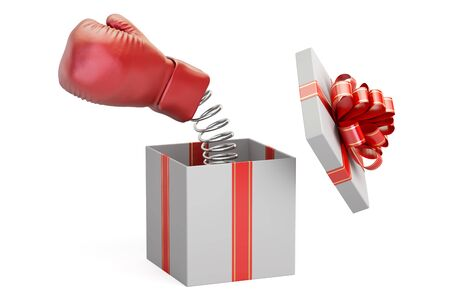 Boxing glove coming out from a gift box, 3D rendering