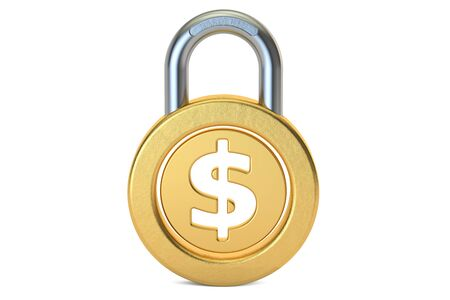 Dollar Padlock, 3D rendering isolated on white background
