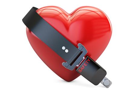 안전 벨트, 안전 및 보험 개념을 가진 심 혼입니다. 흰 배경에 고립 된 3D 렌더링