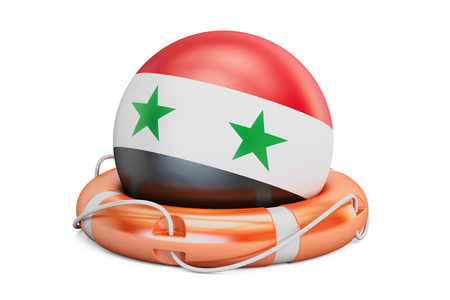 Lifebelt with Syria flag, safe, help and protect concept. 3D rendering