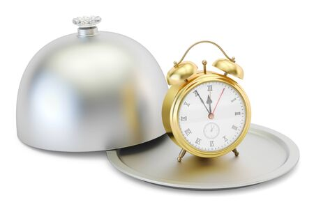 Restaurant cloche with alarm clock, 3D rendering isolated on white background