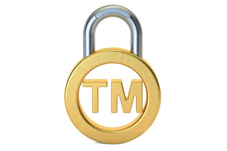Trademark concept with padlock, 3D rendering isolated on white background
