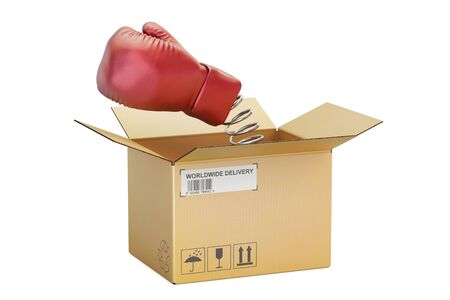 Boxing glove coming out from a cardboard box, 3D rendering