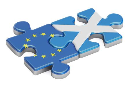 Scotland and European Union puzzles from flags, 3D rendering