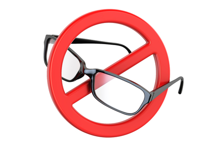 Eyeglasses with forbidden sign, 3D rendering Stock Photo
