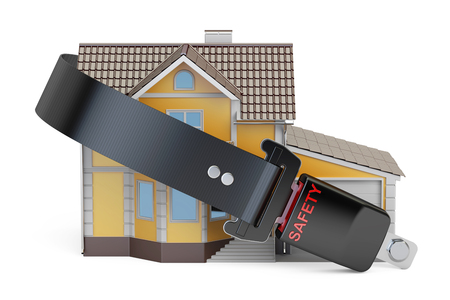 Home security, protection and insurance concept, house with seatbelt. 3D rendering