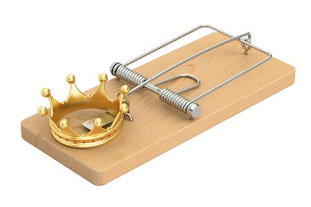 Mousetrap with golden crown, 3D rendering isolated on white background