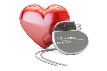 Artificial cardiac pacemaker with red heart, 3D rendering isolated on white background Foto de archivo