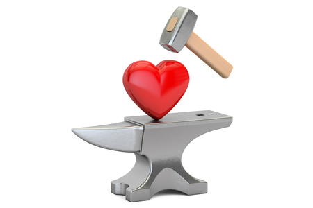 betrayal: Anvil with red heart, 3D rendering isolated on white background