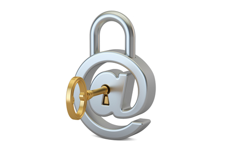 command: E-mail protection concept with padlock and key, 3D rendering